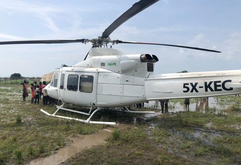 Bell 412 Helicopter in Pibor South Sudan
