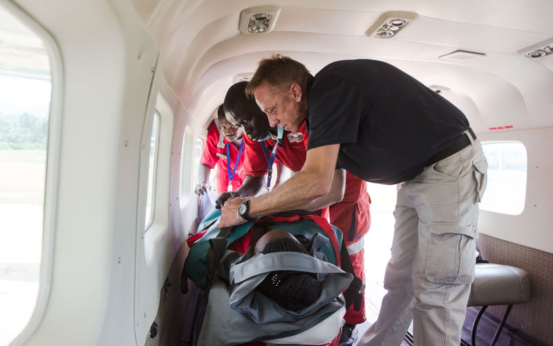 Medevac Patient and Paramedics on board Plane